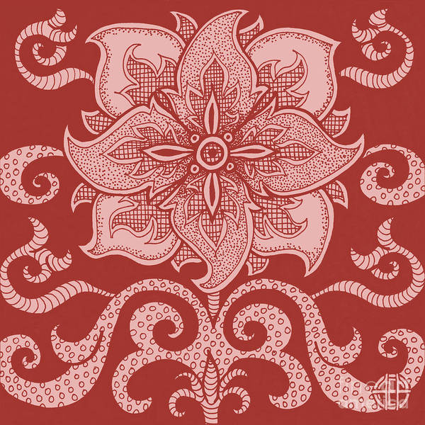 Drawing - Alien Bloom 11 Cherry Red by Amy E Fraser