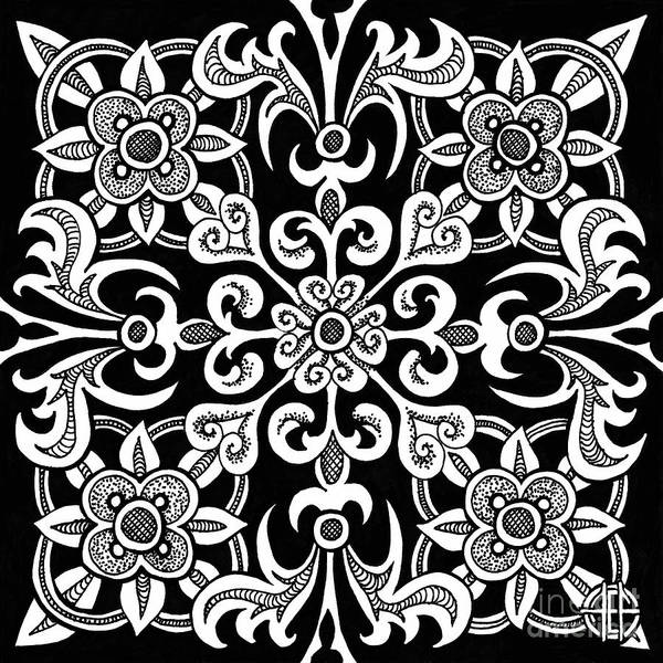 Drawing - Alien Bloom 14 Black And White by Amy E Fraser