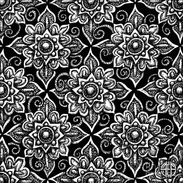Drawing - Alien Bloom 19 Black And White by Amy E Fraser