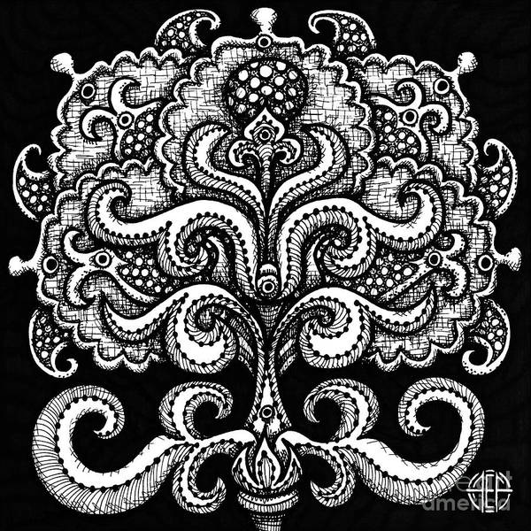 Drawing - Alien Bloom 2 Black And White by Amy E Fraser