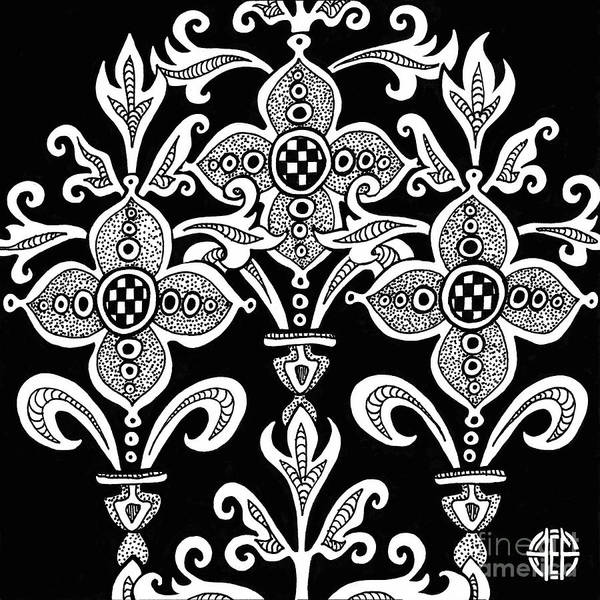 Drawing - Alien Bloom 21 Black And White by Amy E Fraser