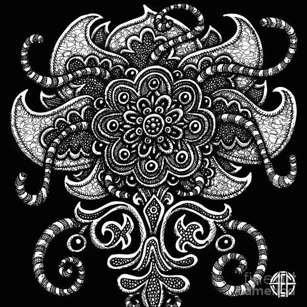Drawing - Alien Bloom 22 Black And White by Amy E Fraser