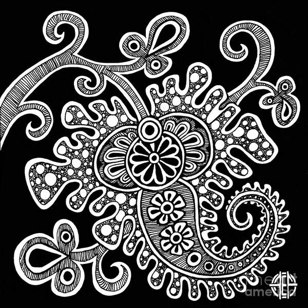 Drawing - Alien Bloom 24 Black And White by Amy E Fraser