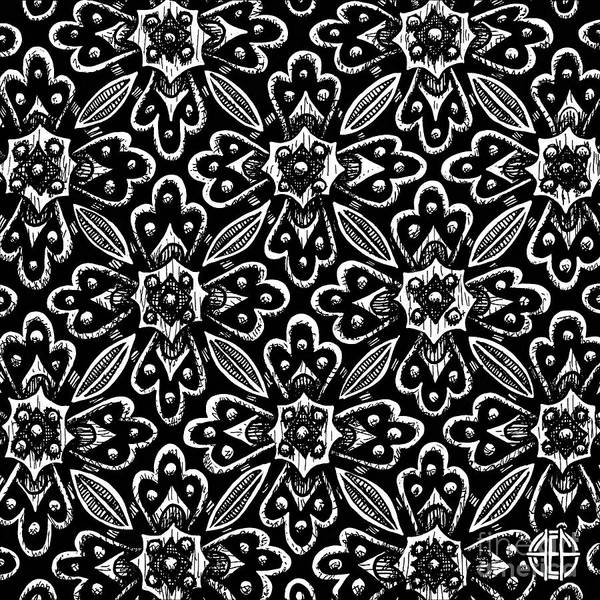 Drawing - Alien Bloom 29 Black And White by Amy E Fraser