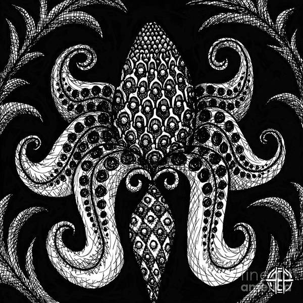 Drawing - Alien Bloom 3 Black And White by Amy E Fraser
