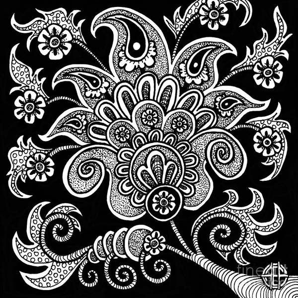 Drawing - Alien Bloom 4 Black And White by Amy E Fraser