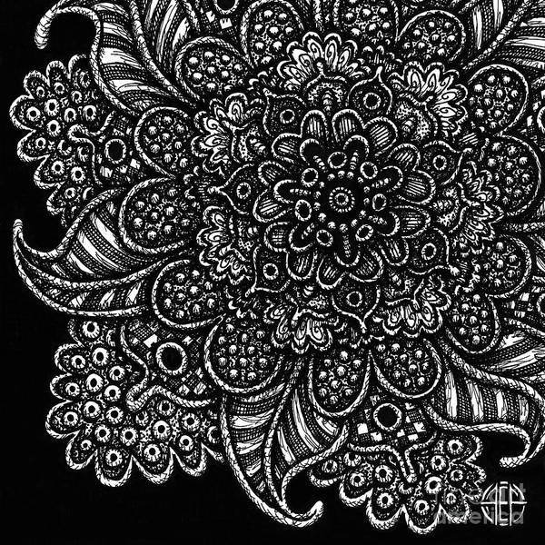 Drawing - Alien Bloom 7 Black And White by Amy E Fraser