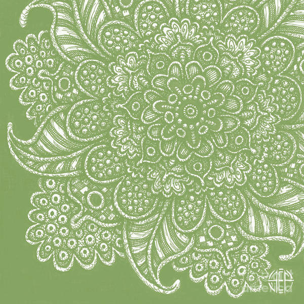 Drawing - Alien Bloom 7 Soft Fern Green by Amy E Fraser