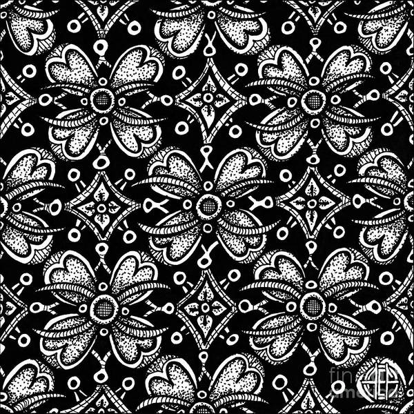 Drawing - Alien Bloom 9 Black And White by Amy E Fraser