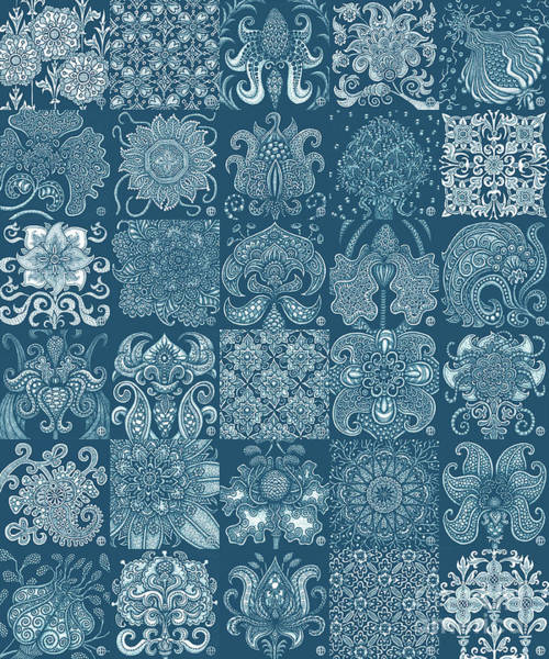 Drawing - Alien Bloom Patchwork Blue by Amy E Fraser