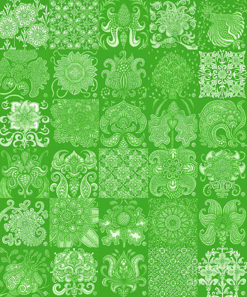 Drawing - Alien Bloom Patchwork Green by Amy E Fraser