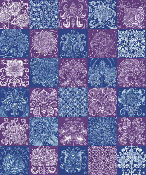 Drawing - Alien Bloom Patchwork Purple And Blue by Amy E Fraser