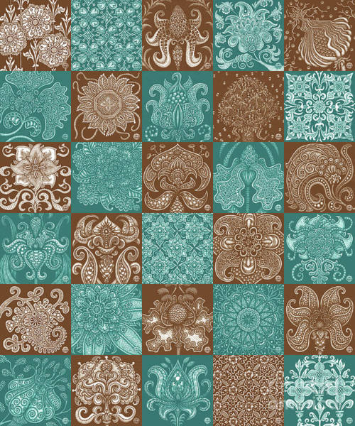 Drawing - Alien Bloom Patchwork Teal And Brown by Amy E Fraser