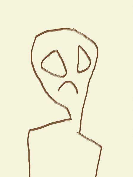 Photograph - Alien Face Line Art 02 by Prakash Ghai