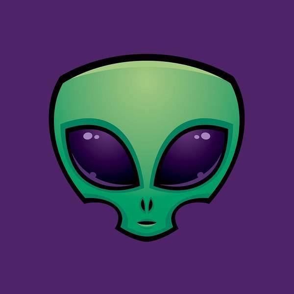 Outer Space Digital Art - Alien Head Icon by John Schwegel