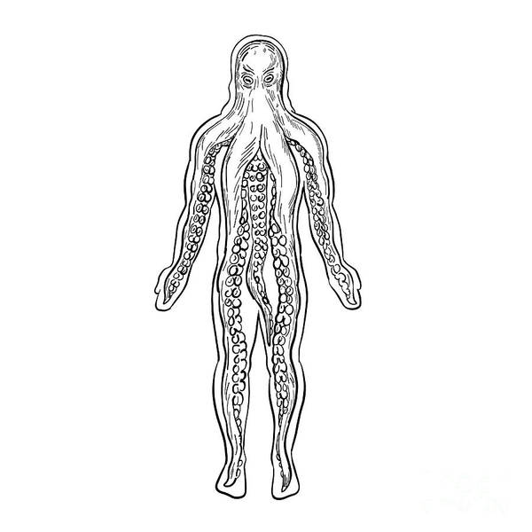 Wall Art - Digital Art - Alien Octopus Inside Human Body Drawing Black And White by Aloysius Patrimonio