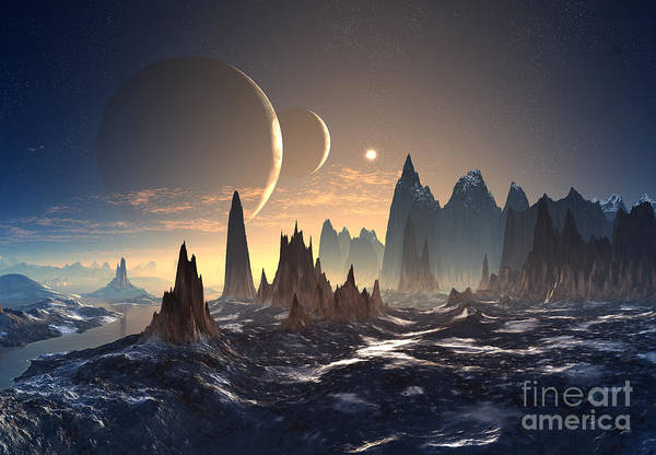 Alien Planet With Two Moons Art Print
