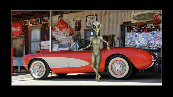 Wall Art - Photograph - Alien Vacation Classic Vette On Route 66 by Mike McGlothlen