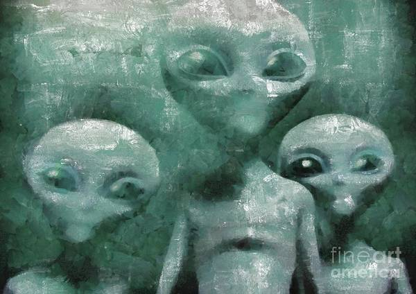 Wall Art - Painting - Aliens In The Mist by Raphael Terra