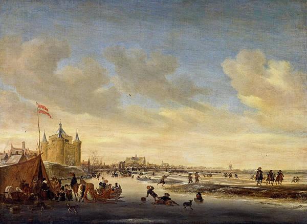 Snow Bank Painting - Alkmaar In Winter, 1656 by Salomon van Ruysdael