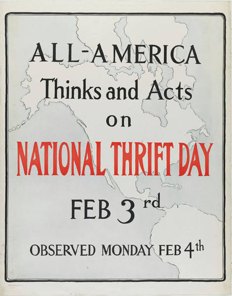 Wall Art - Painting - All-america Thinks And Acts On National Thrift Day, Feb. 3 by Celestial Images