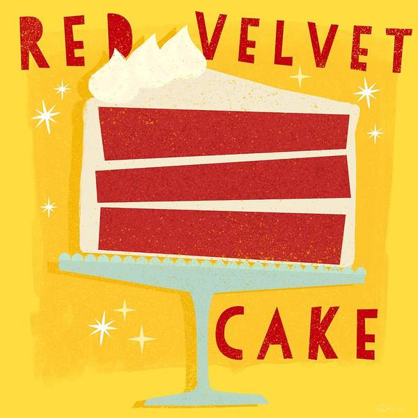 Cheese Cake Wall Art - Painting - All American Classic Red Velvet Cake by Little Bunny Sunshine
