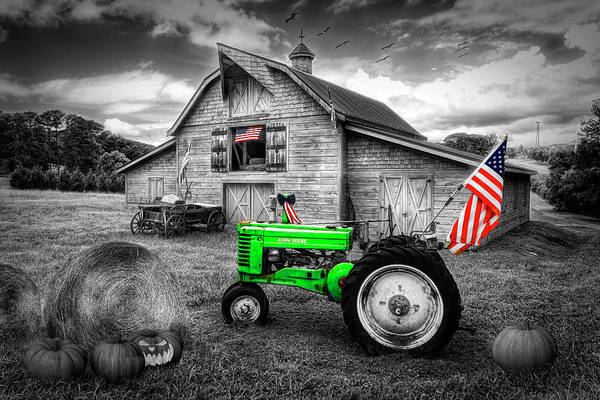 Wall Art - Photograph - All American Farm In Black And White With Color Selected Flags A by Debra and Dave Vanderlaan