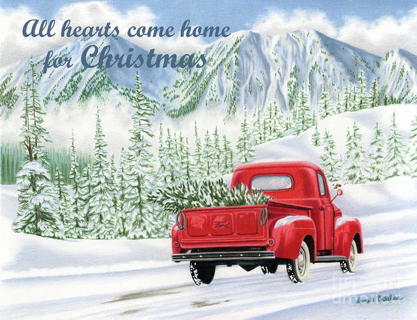 Wall Art - Painting - All Hearts Come Home For Christmas Cards by Sarah Batalka