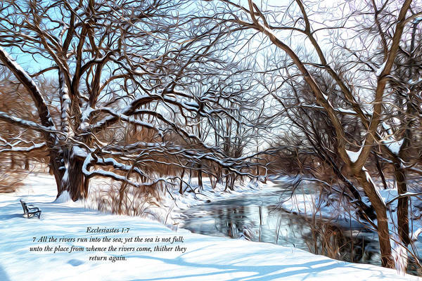 Park Bench Digital Art - All Rivers Run To The Sea by Sandra Johnson