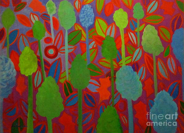 Wall Art - Painting - All The Trees Of The Forest by A Hillman