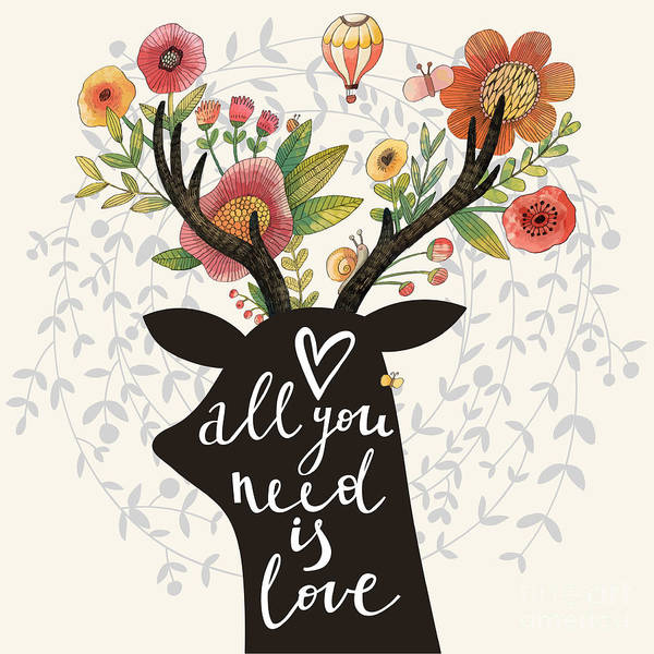 Reindeer Wall Art - Digital Art - All You Need Is Love. Incredible Deer by Smilewithjul