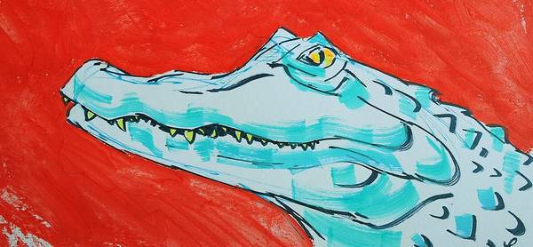 Drawing - Alligator Cartoon  by Mike Jory