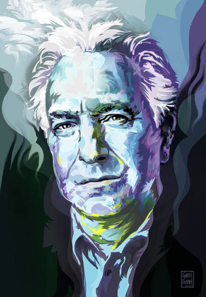 Snape Wall Art - Digital Art - Allan Rickman Portrait In Blue by Garth Glazier