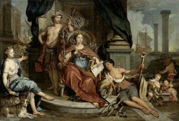 Painting - Allegorical Representation Of The Amsterdam Chamber Of The Dutch East India Company by Nikolaas Verkolje