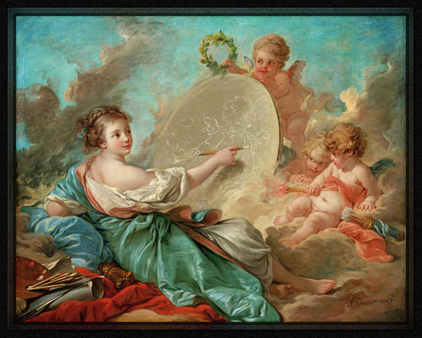 Digital Art - Allegory Of Painting By Francois Boucher by Xzendor7