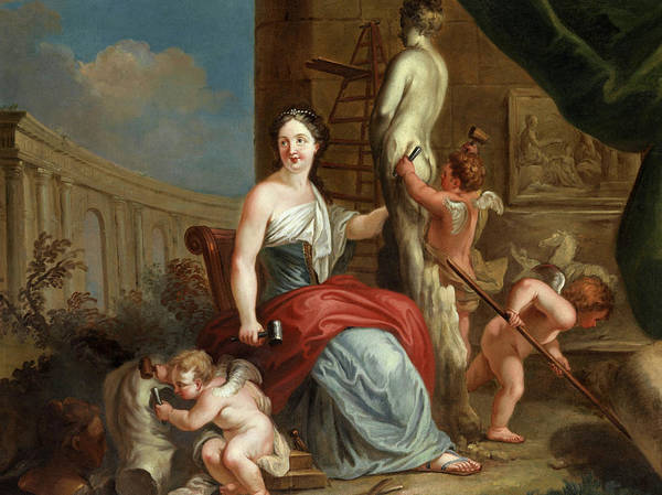 Wall Art - Painting - Allegory Of Sculpture And Architecture by Louis Gabriel Blanchet