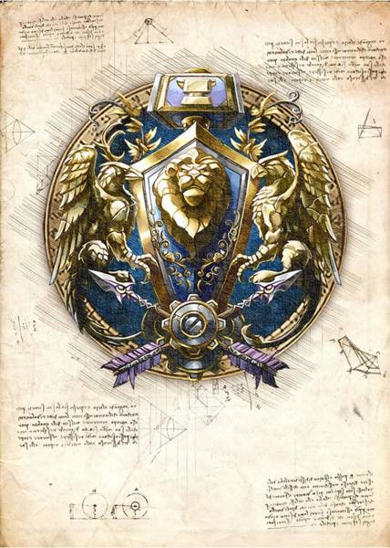 Paladin Digital Art - Alliance Races Crest World Of Warcraft Wow by Mad Lab
