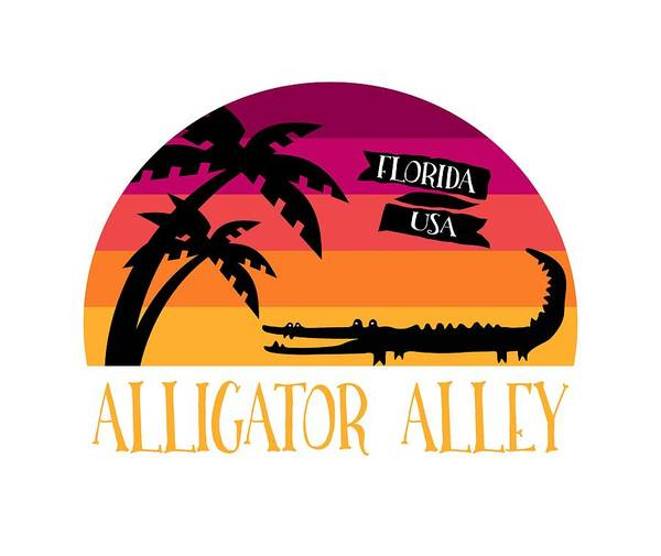 Wall Art - Digital Art - Alligator Alley Retro Sunset by Antique Images