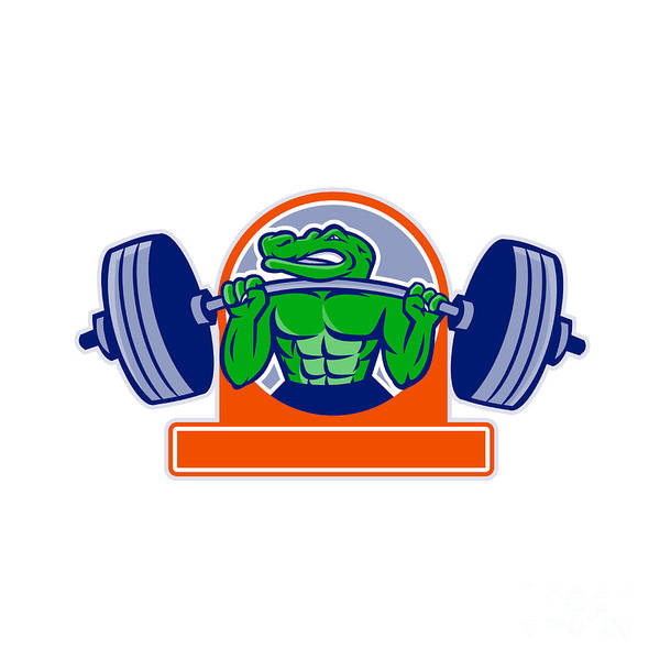 Powerlifting Digital Art - Alligator Lifting Heavy Barbell Circle Mascot by Aloysius Patrimonio