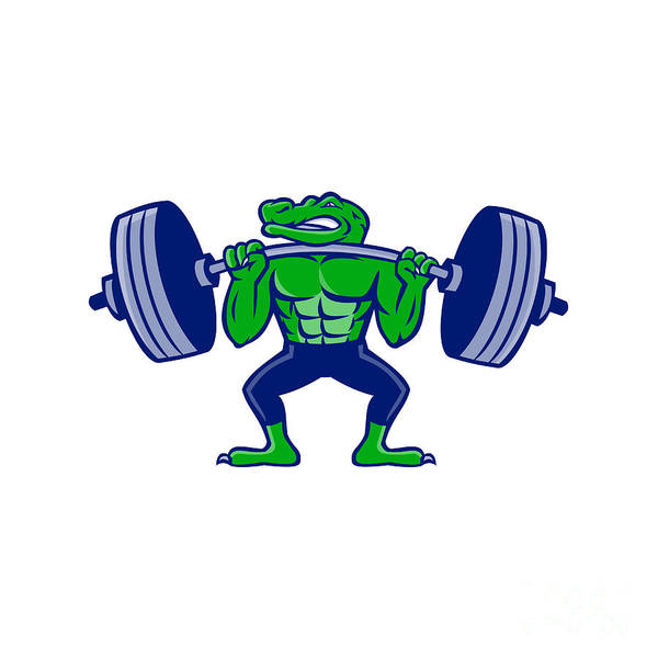 Powerlifting Digital Art - Alligator Lifting Heavy Barbell Mascot by Aloysius Patrimonio