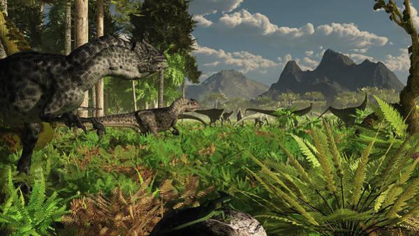 Prehistoric Era Wall Art - Digital Art - Allosaurus And Diplodocus Dinosaurs by Arthur Dorety/stocktrek Images