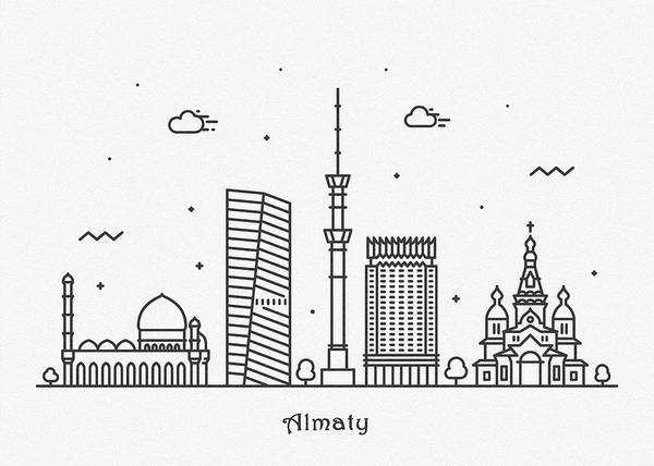 Wall Art - Digital Art - Almaty Cityscape Travel Poster by Inspirowl Design
