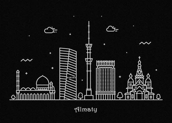 Wall Art - Drawing - Almaty Skyline Travel Poster by Inspirowl Design