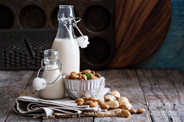 Dairy Photograph - Almond Nut Vegan Milk Non Dairy In by Elena Veselova