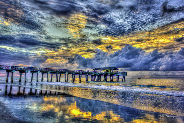 Wall Art - Photograph - Almost First Light Tybee Island Pier Reflections Seascape Art by Reid Callaway
