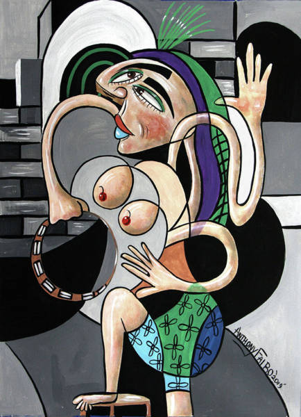 Painting - Almost Nude Woman With Tambourine by Anthony Falbo