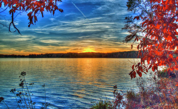 Photograph - Almost Over Lake Oconee Sunset Fall Foliage Art by Reid Callaway