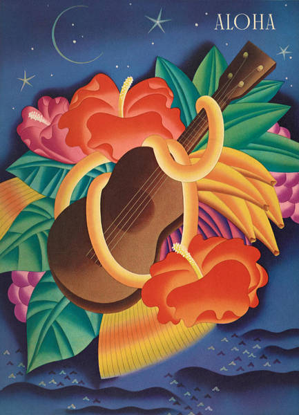 Flower Wall Art - Mixed Media - Aloha Welcome To Hawaii, 1932 Poster by Zal Latzkovich