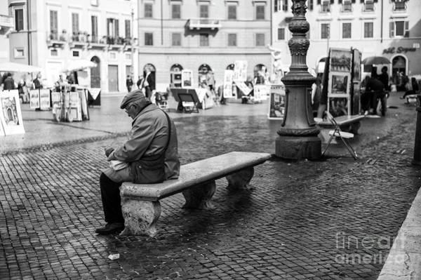 Photograph - Alone In Piazza Navona Rome by John Rizzuto