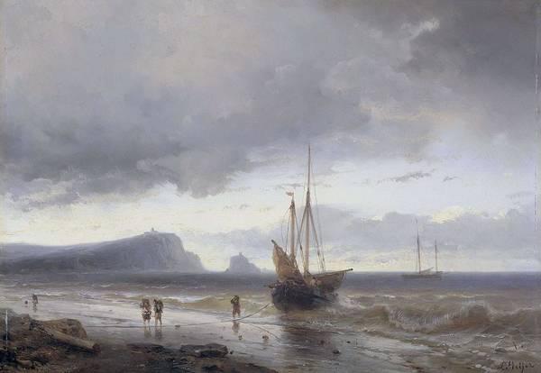 Meijer Painting - Along The Coast. by Louis Meijer